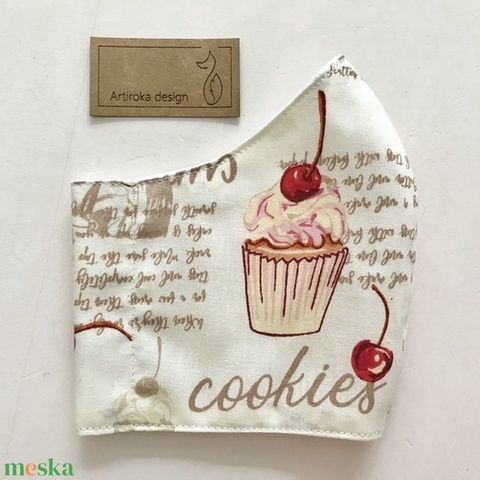 Cukrászda, sütemény és muffin mintás arcmaszk, szájmaszk  - S méret-Artiroka design (Mesedoboz) - Meska.hu