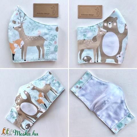 Erdő állatai mintás prémium maszk, arcmaszk, szájmaszk, gyerekmaszk XS méretben- Artiroka design - Meska.hu
