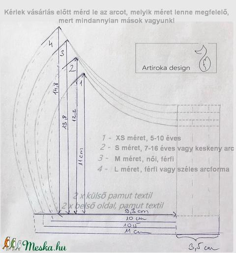 Bézs kék mintás arcmaszk, szájmaszk, maszk, gyerekmaszk - Artiroka design - Meska.hu
