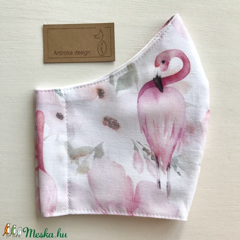 Flamingó mintás fehér színű prémium arcmaszk, szájmaszk, maszk- M méretben - Artiroka design (Mesedoboz) - Meska.hu
