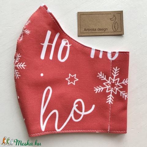 Ho-ho-ho, hamarosan itt a Télapó! - prémium pamut textilből készült maszk, arcmaszk, gyerekmaszk  - Artiroka design  (Mesedoboz) - Meska.hu