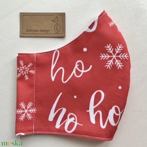 Ho-ho-ho -Hull a hó, téli jégvirág mintás pamut textilből készült maszk, arcmaszk - M méret - Artiroka design AKCIÓ (Mesedoboz) - Meska.hu