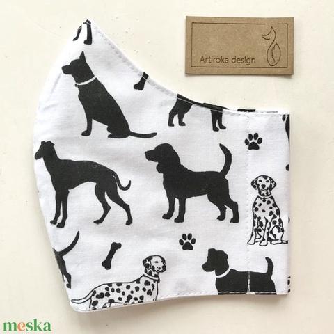 AKCIÓ - Kutya mintás pamut arcmaszk, szájmaszk, maszk, gyerekmaszk - tacskó, beagle -Artiroka design - Meska.hu