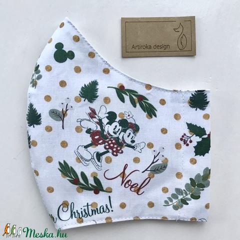 Miki egér karácsonyra készül - PRÉMIUM pamut arcmaszk, szájmaszk, maszk, gyerekmaszk  - Artiroka design (Mesedoboz) - Meska.hu
