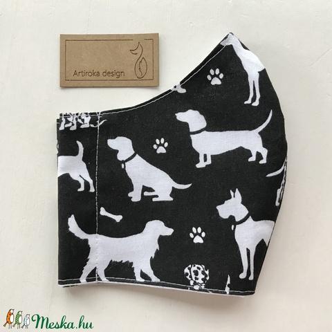 Kutya mintás fekete - fehér pamut arcmaszk, szájmaszk, maszk, gyerekmaszk - tacskó, agár -Artiroka design (Mesedoboz) - Meska.hu