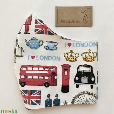 I love London mintás prémium arcmaszk, szájmaszk, gyerek maszk- S méret - Artiroka design (Mesedoboz) - Meska.hu