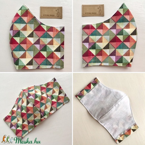 Háromszög mintás  színes arcmaszk, szájmaszk, maszk,  - M méret - Artiroka design (Mesedoboz) - Meska.hu