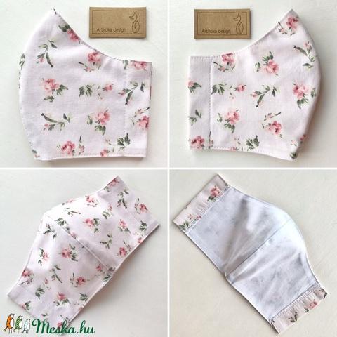 Púder rózsaszín, rózsa mintás  prémium pamut textil arcmaszk, szájmaszk  -  Artiroka design - Meska.hu