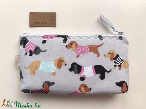 Tacskó kutya mintás  tolltartó, irattartó neszesszer, mobiltok, szemüvegtok - Artiroka design (Mesedoboz) - Meska.hu