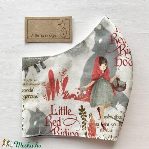 Piroska és a farkas mintás prémium maszk, gyerek maszk, szájmaszk, arcmaszk -  Artiroka design  (Mesedoboz) - Meska.hu