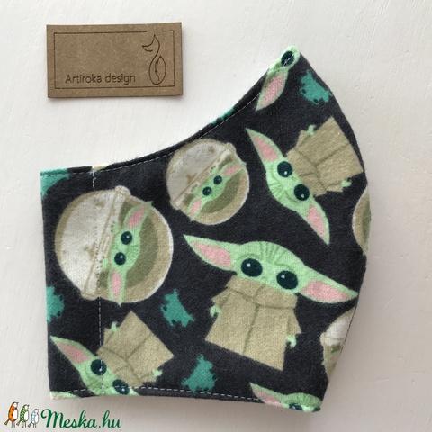 Baby Yoda mintás prémium flanel arcmaszk, szájmaszk, maszk, gyerekmaszk - Star Wars  - S méret- Artiroka design - Meska.hu