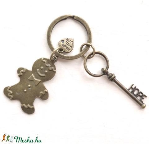Karácsonyi süti baba medál - egyedi kulcstartó HOPE azaz remény vintage kulcs dísszel - Artiroka design (Mesedoboz) - Meska.hu
