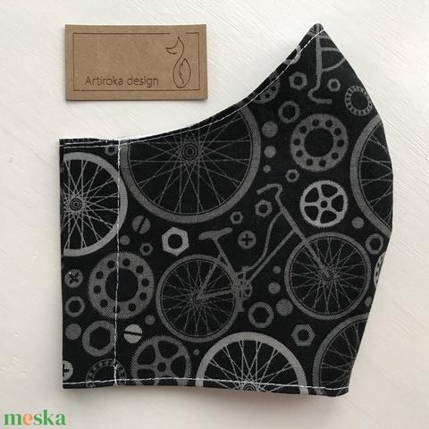 Bicikli mintás fekete színű prémium arcmaszk, szájmaszk, maszk - Artiroka design (Mesedoboz) - Meska.hu