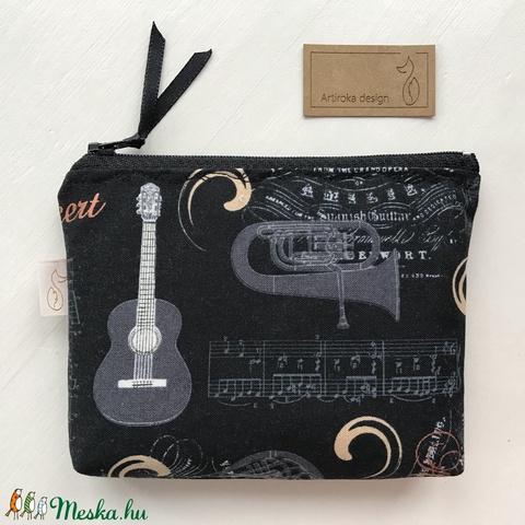 Gitár, kotta és hangszer mintás, prémium pamut irattartó pénztárca, neszesszer  -  Artiroka design (Mesedoboz) - Meska.hu