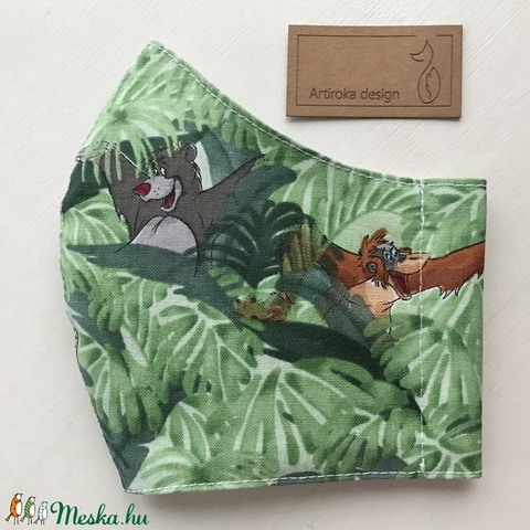 A dzsungel könyve - Maugli és Balu mackó mintás arcmaszk, szájmaszk, maszk - S méret  - Artiroka design (Mesedoboz) - Meska.hu