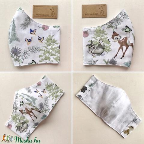 Bambi és nyuszi mintás arcmaszk, szájmaszk, maszk XS méretben - Artiroka design (Mesedoboz) - Meska.hu