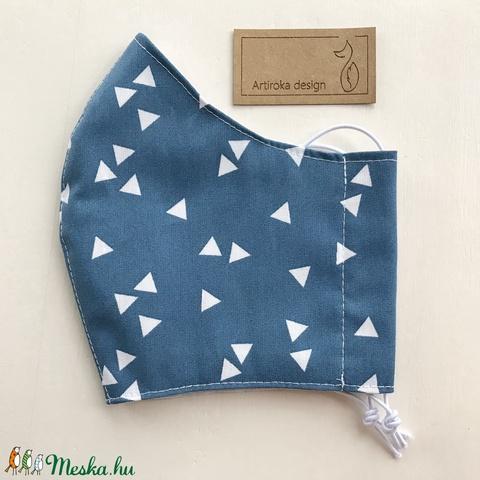 Kék-fehér  mintás prémium szájmaszk, gyerekmaszk, arcmaszk, maszk -  S méret - Artiroka design - Meska.hu