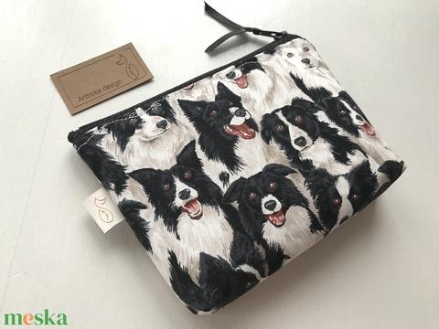 Border Collie kutya mintás, prémium pamut irattartó pénztárca, neszesszer  -  Artiroka design - Meska.hu