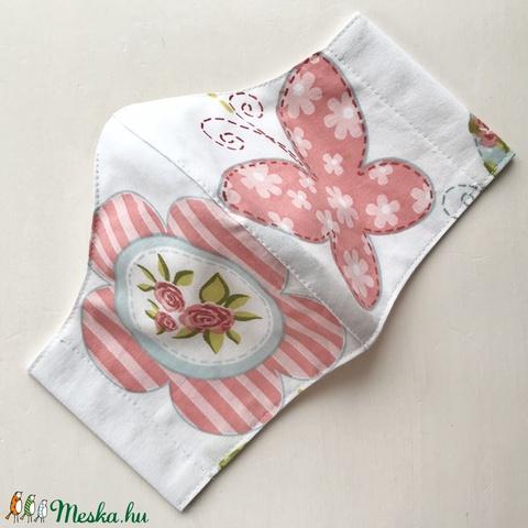 AKCIÓ  Rózsaszín rózsás és pillangó mintás arcmaszk, szájmaszk, maszk   -  Artiroka design - Meska.hu