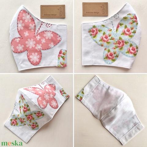 Rózsa és pillangó mintás fehér színű arcmaszk, szájmaszk, maszk S méretben - Artiroka design - AKCIÓ - Meska.hu