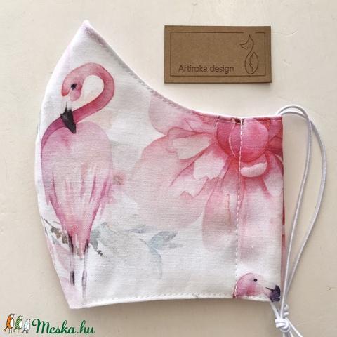 Flamingó mintás prémium arcmaszk, szájmaszk, maszk- Artiroka design - Meska.hu