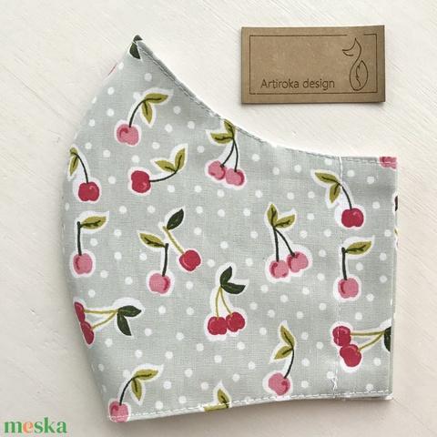 Cseresznye mintás pasztell zöld prémium arcmaszk, szájmaszk, maszk - Artiroka design (Mesedoboz) - Meska.hu