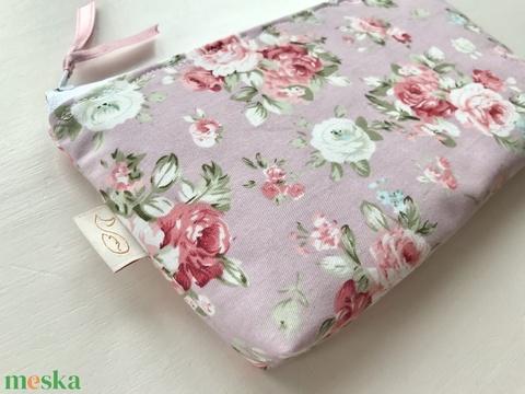 Púder színű angol rózsás prémium neszesszer, tolltartó, szemüvegtok - neszesszer - Artiroka design (Mesedoboz) - Meska.hu