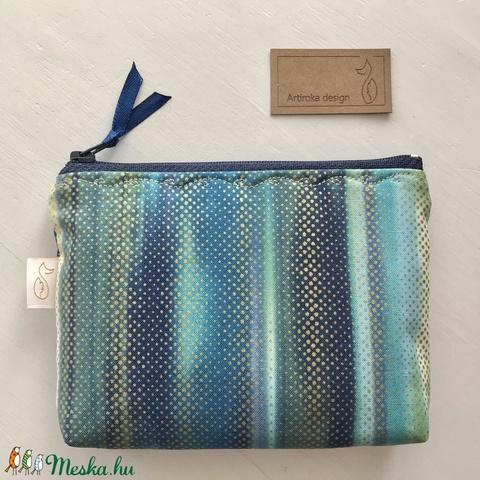 Türkiz - kék - zöld - bézs színváltós prémium pamut irattartó pénztárca arany pöttyökkel fűszerezve  - Artiroka design - Meska.hu
