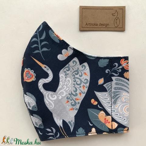 Egyedi mosómedve és madár mintás prémium maszk, szájmaszk, arcmaszk-  S méret  - Artiroka design - Meska.hu