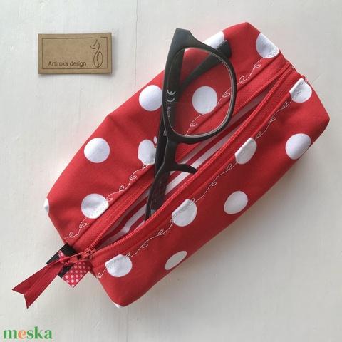 Vidám, piros - fehér pöttyös - csíkos, almás tolltartó, szemüvegtok neszesszer  - Artiroka design  - Meska.hu