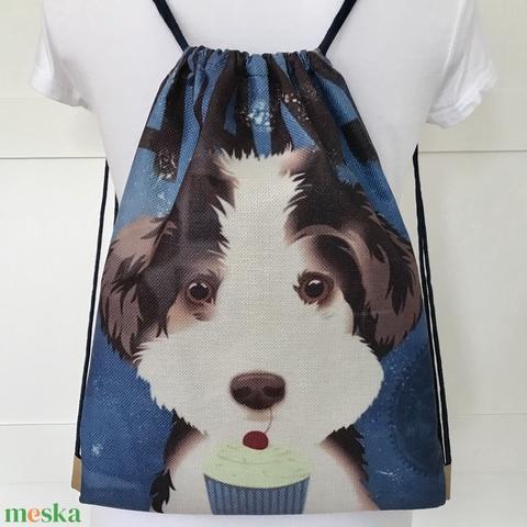 Vidám kutya mintás, egyedi gymbag hátizsák - tornazsák edzéshez,  úszáshoz , kiránduláshoz - Artiroka design - Meska.hu