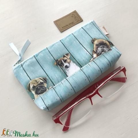 Kutya mintás prémium  neszesszer, szemüvegtok, irattartó - Mopsz, Terrier, Labrador, Bulldog, Boxer - Artiroka design - Meska.hu