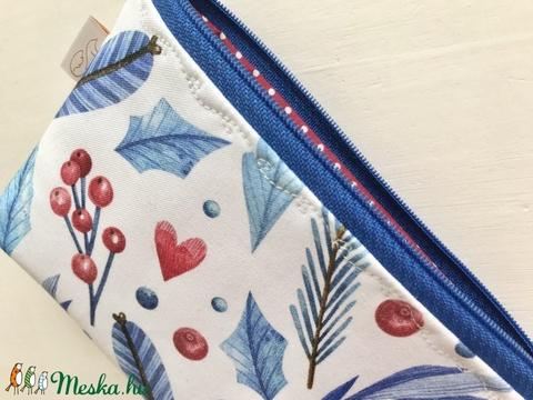 Kék - fehér - piros bogyós és levél mintás neszesszer, szemüvegtok,tolltartó  - Artiroka design - Meska.hu