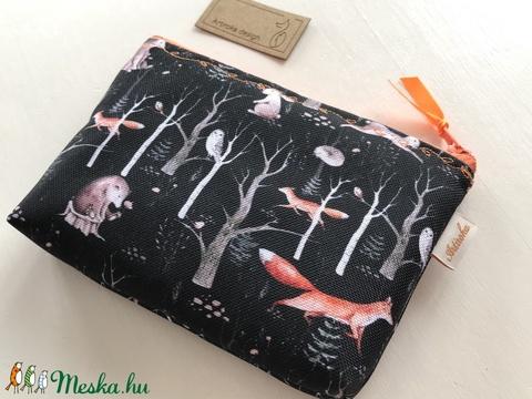Éjszaka az erdőben - róka, madár, bagoly mintás prémium irattartó pénztárca - Artiroka design - Meska.hu