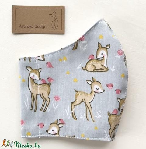 Bambi, őzike mintás prémium maszk, gyerek maszk, szájmaszk, arcmaszk prémium pamut textil XS méret-  Artiroka design  - Meska.hu