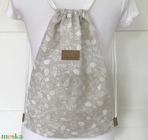 Bézs színű levél mintás gymbag hátizsák,  kiránduláshoz, sétához, edzéshez - Artiroka design  - Meska.hu