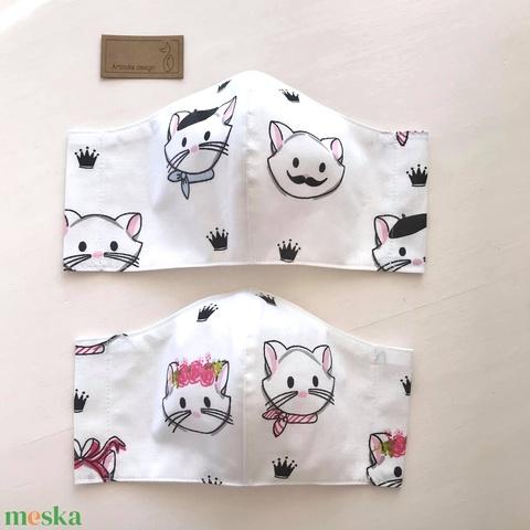AKCIÓ - Fiú cica - lány cica mintás fehér színű textil arcmaszk  -  Artiroka design - Meska.hu