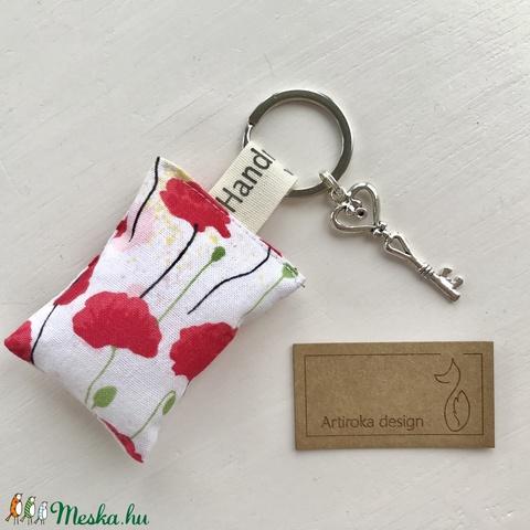 Pipacs virág mintás, egyedi kulcstartó, vintage kulcs dísszel - Artiroka design  - Meska.hu