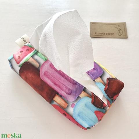 Színes jégkrém és fagylalt mintás,  bélelt papírzsebkendő tartó - Artiroka design - Meska.hu