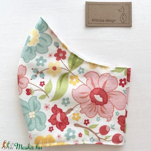 Virág  mintás  prémium pamut textil arcmaszk, szájmaszk, maszk - M méretben -  Artiroka design - Meska.hu
