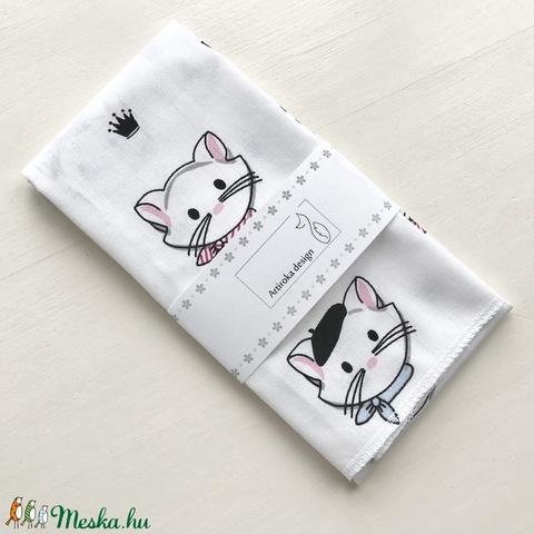 Kislány és kisfiú cica mintás zsebkendő vagy szalvéta szett - NoWaste - Meska.hu