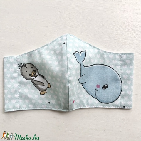 Pingvin és halacska mintás gyerek maszk, szájmaszk, maszk, gyerekmaszk - XS MÉRET - Artiroka design - Meska.hu