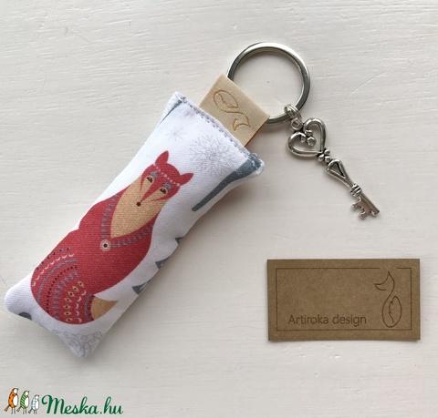 Róka és bagoly mintás prémium kulcstartó +  vintage kulcs - Artiroka design - Meska.hu