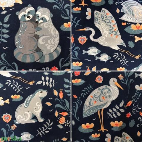 Hattyú mintás sötétkék bélelt papírzsebkendő tartó - Artiroka design - táska & tok - pénztárca & más tok - zsebkendőtartó - Meska.hu