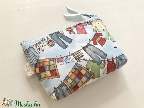 Nyári szellő - Maci a szárítókötélen mintás prémium irattartó pénztárca  - egyedi darab -  Artiroka design - Meska.hu