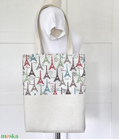 Eiffel torony mintás válltáska, strandtáska -  shopper bag - Párizs - Artiroka design - Meska.hu