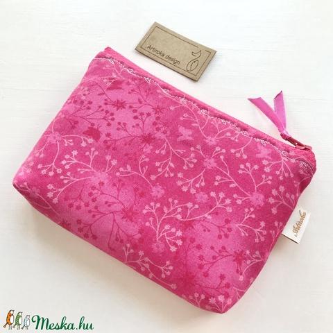 Ciklámen színű, virág és pillangó mintás irattartó pénztárca - NYÁR -  Artiroka design - Meska.hu
