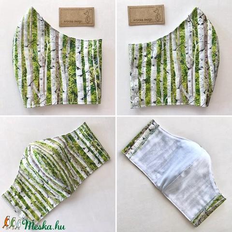 Nyírfa erdő mintás prémium pamut textilből készült maszk, arcmaszk, szájmaszk - Artiroka design - Meska.hu