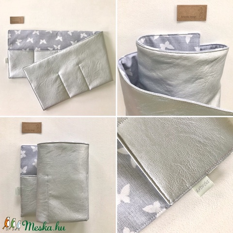 Ezüst textilbőr pillangókkal - táskarendező, táska rendszerező  -  Artiroka design  - Meska.hu