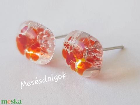 Narancs üvegékszer lánc  fülbevalóval. Egyedi ajándék minden alkalomra (mesesdolgok) - Meska.hu